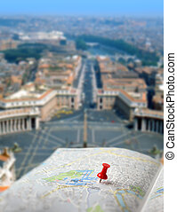 Travel destination Rome map push pin blur - Push pin...