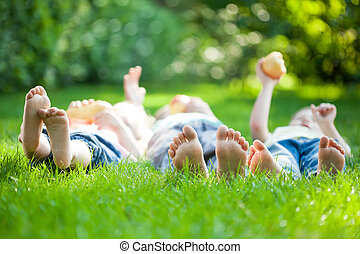 Family having picnic - Family playing on green grass in...