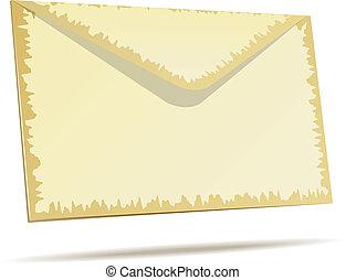 Aged postal envelope isolated on white background.