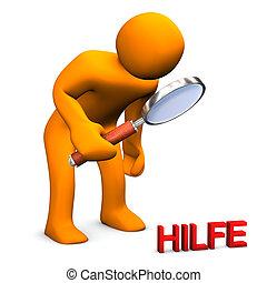 Suche Hilfe - Orange Männchen sucht mit der Lupe nach Hilfe...