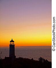 Lighthouse on the Washington Coast at Sunset