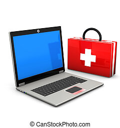 First Aid Laptop - First aid case with laptop on the white...