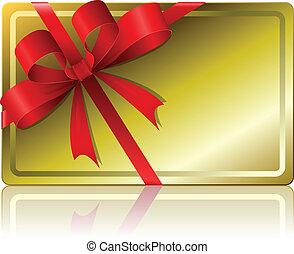 Blank golden gift card with ribbon isolated on white...