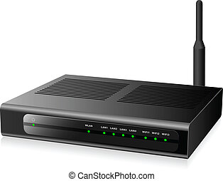 New modern black network router isolated on white background...