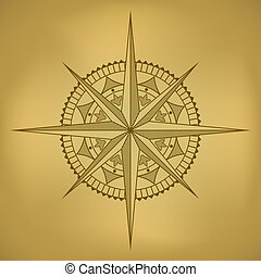 Traditional old-styled wind rose on ancient russet paper.