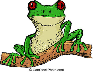 tree frog - hand drawn, vector, cartoon illustration of tree...