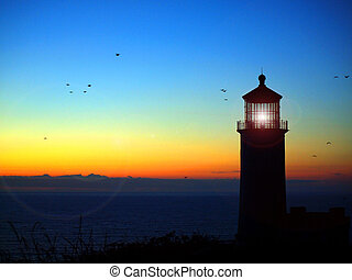 Lighthouse with Lens Flare on the Washington Coast at Sunset
