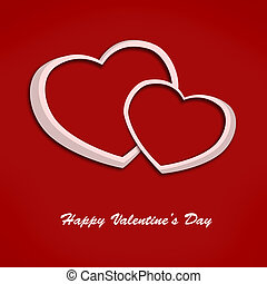 Valentine card with two hearts on red background. Illustration