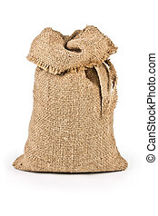 jute canvas bag isolated on white background