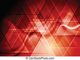 Bright red hi-tech design - Abstract technology background...