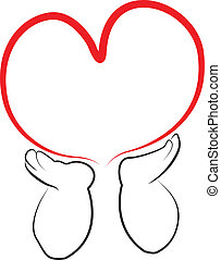 Angel hands holding a heart logo