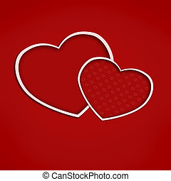 Valentine card with hearts on blight red background. Illustration