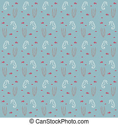 seahorses and weeds vector seamless sea pattern - seamless...
