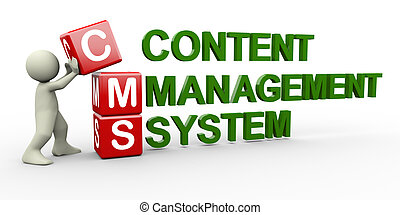 3d man and cms cubes - 3d person placing cms content...