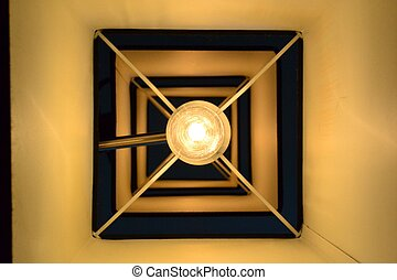 A round light in a square