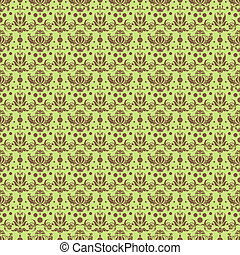 Seamless Damask Pattern - Mocha brown damask pattern on warm...
