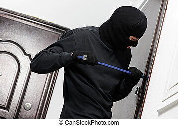 thief burglar at house breaking - Thief Burglar opening...