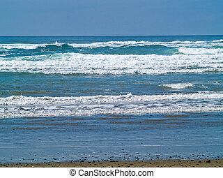 Ocean Waves on the Shore on a Clear, Sunny Day