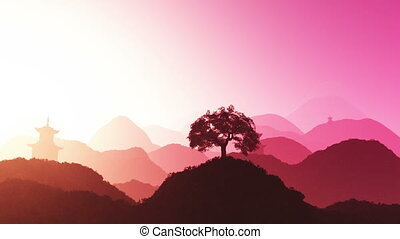 Oriental Sunset over Mountains 01 - Magical Oriental Sunset...