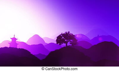 Oriental Sunset over Mountains 03