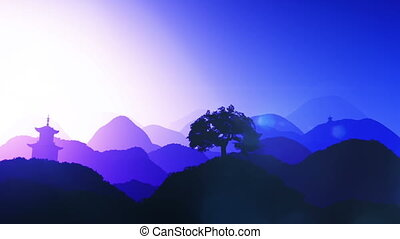 Oriental Sunset over Mountains 04 - Magical Oriental Sunset...