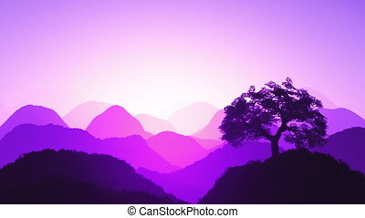 Oriental Sunset over Mountains 06 - Magical Oriental Sunset...