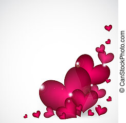Valentines Day Background with pink hearts. Vector