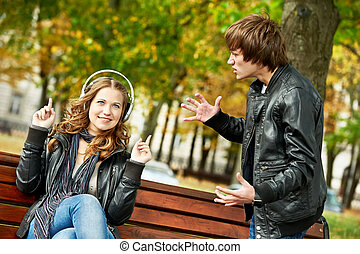 young couple in stress relationship