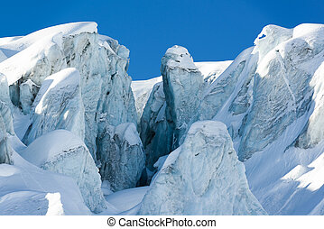 glacial crevasse and ice structure