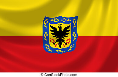 Flag of Bogota waving in the wind detail