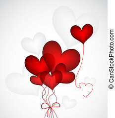 Heart Ballloons Vector - Vector illustration of three red...