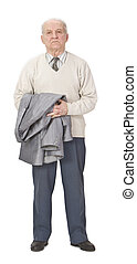 Senior man standing-up - Senior man holding a coat on his...