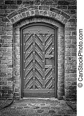 Church Door Monochromatic 02 - A black and white photo of an...
