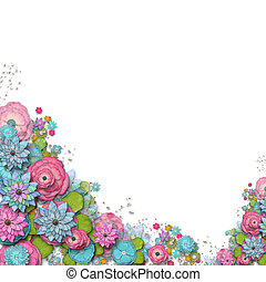 Frame of flowers - Vintage background with stamp-frame and...