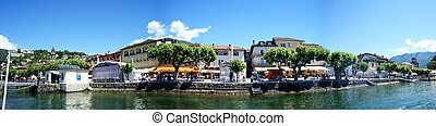 Panorama of Ascona, Switzerland - View from Lake Maggiore on...