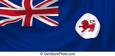 Flag of Tasmania waving in the wind detail