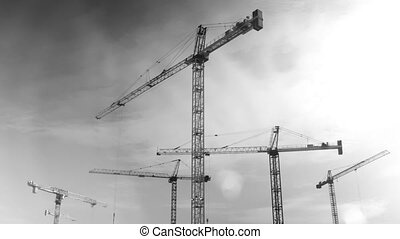 Five cranes. Timelapse. - Cranes working at construction...