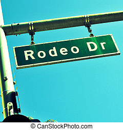 Rodeo Drive sign, in Beverly Hills, US