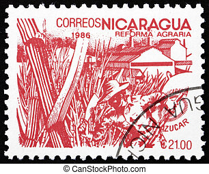 Postage stamp Nicaragua 1986 Sugar Cane, Agrarian Reform -...