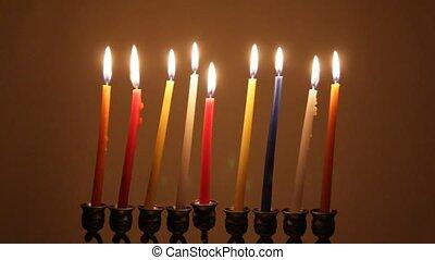Brightly Lit Hanukkah Candles