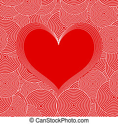 Seamless Swirl Pattern with red heart. Vector