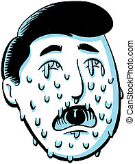 Many Tears - The cartoon face of a crying man is covered in...