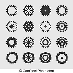 Vector black gearwheel icons set on gray