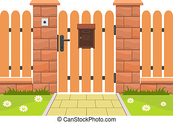 Entrance door with mailbox