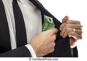 Concept of bribe - Businessman putting money in his jacket...