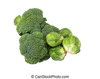 broccoli and brussel sprouts - fresh broccoli and brussel...