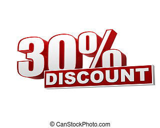 30 percentages discount red white banner - letters and block