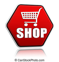 shopping cart sign with word shop hexagon banner
