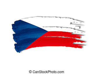 Czech flag drawing - illustration of isolated hand drawn...