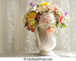 blanco, cántaro, flores